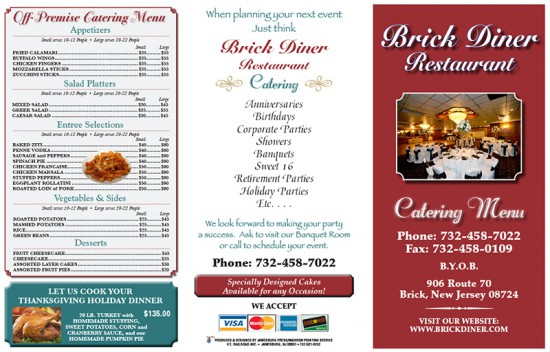 Brick Diner Trifold Menu